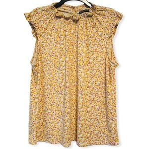 Adrianna Papell Floral Ruffle Top Sleeveless XL
